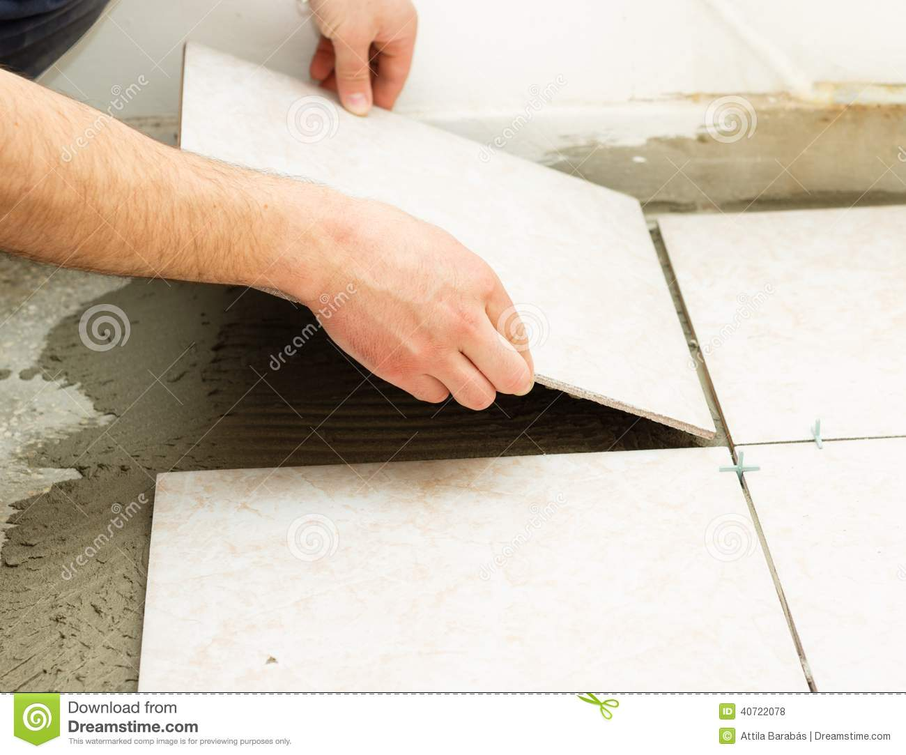 Ceramic Floor Tile Application Stock Photo - Image of industrialist ...