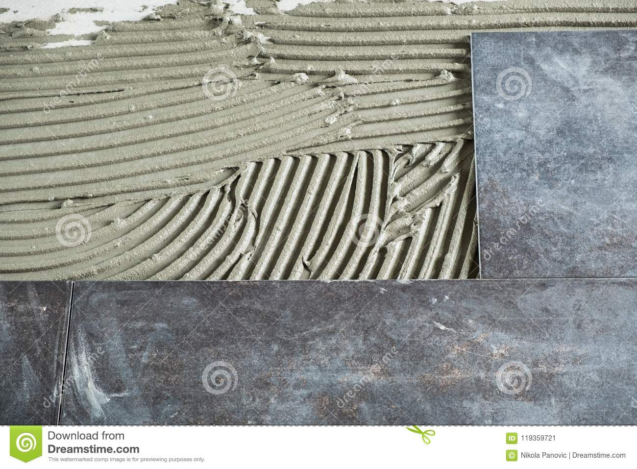 Ceramic Floor Tiles Laid On Applied Adhesive Stock Image Image Of