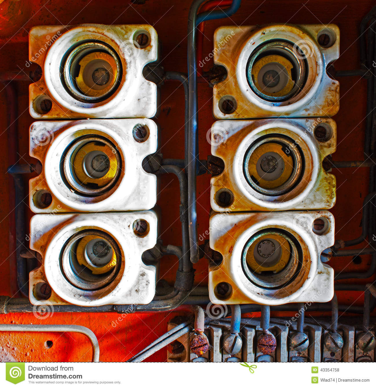 ceramic fuses in old electric box stock photo image of green dust rh dreamstime com
