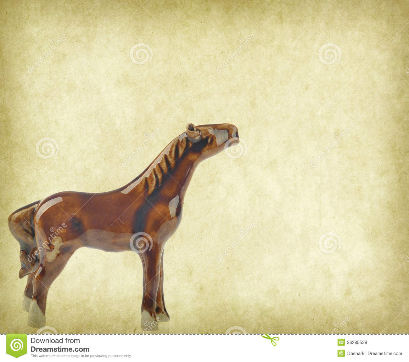 Ceramic Horse Souvenir On Old Paper Chinese Calligraphy