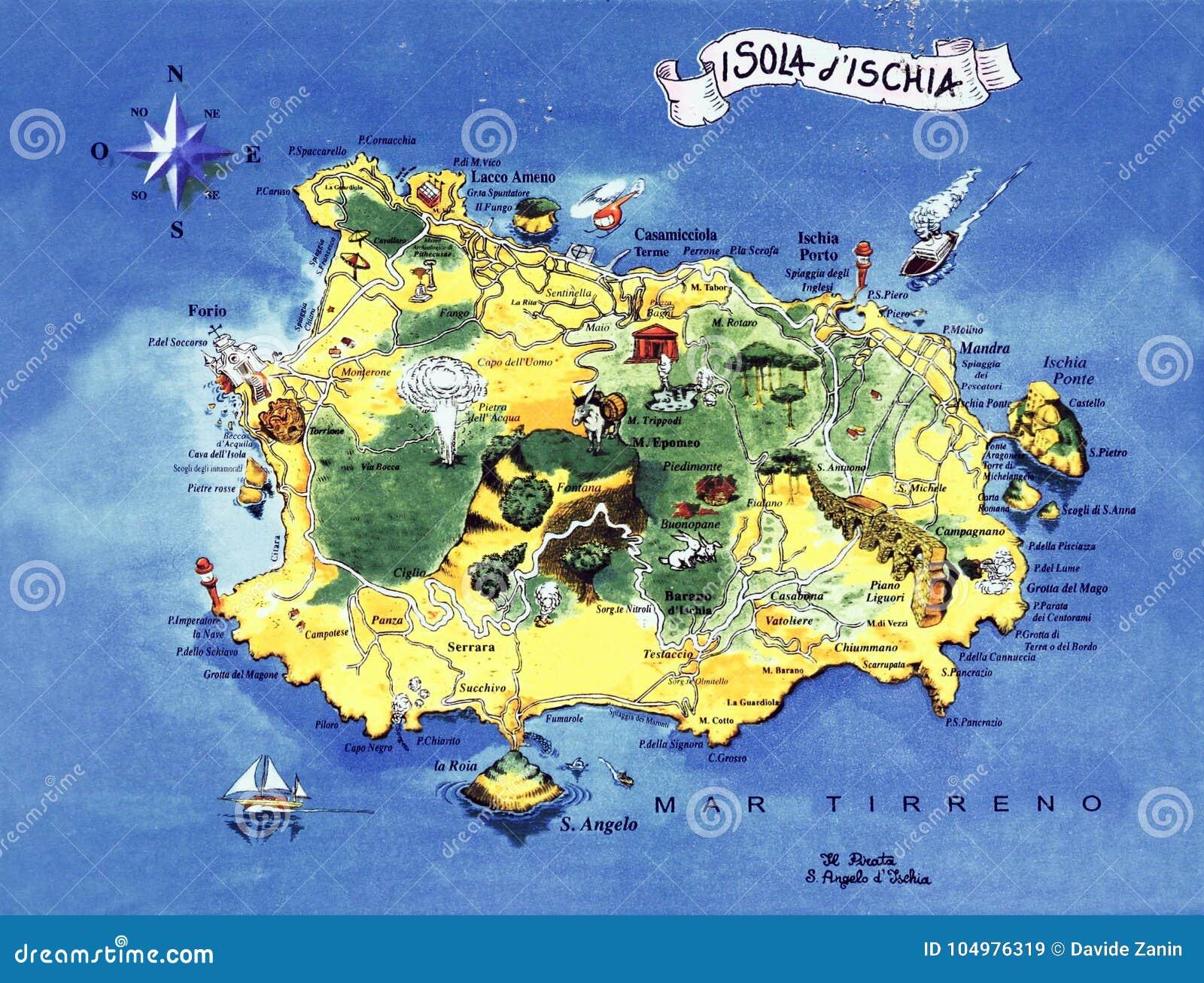 Ceramic Majolica Representing The Map Of Ischia Editorial