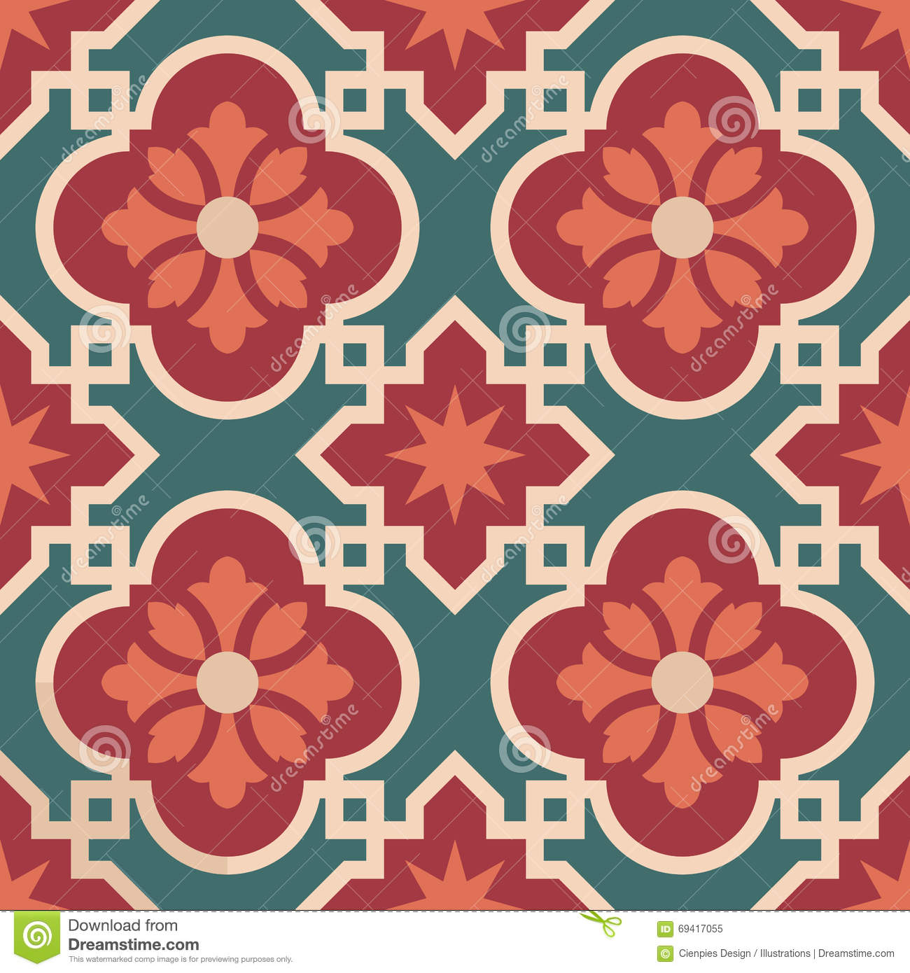 Ceramic floor tile mosaic pattern with decoration stock vector ceramic moroccan mosaic tile pattern with flower royalty free stock photo dailygadgetfo Image collections