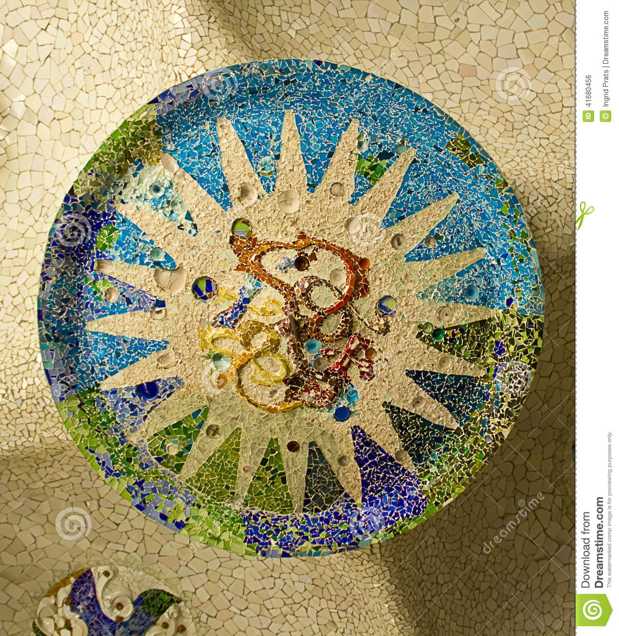 Ceramic Mosaic In Park Guell Barcelona Stock Photo