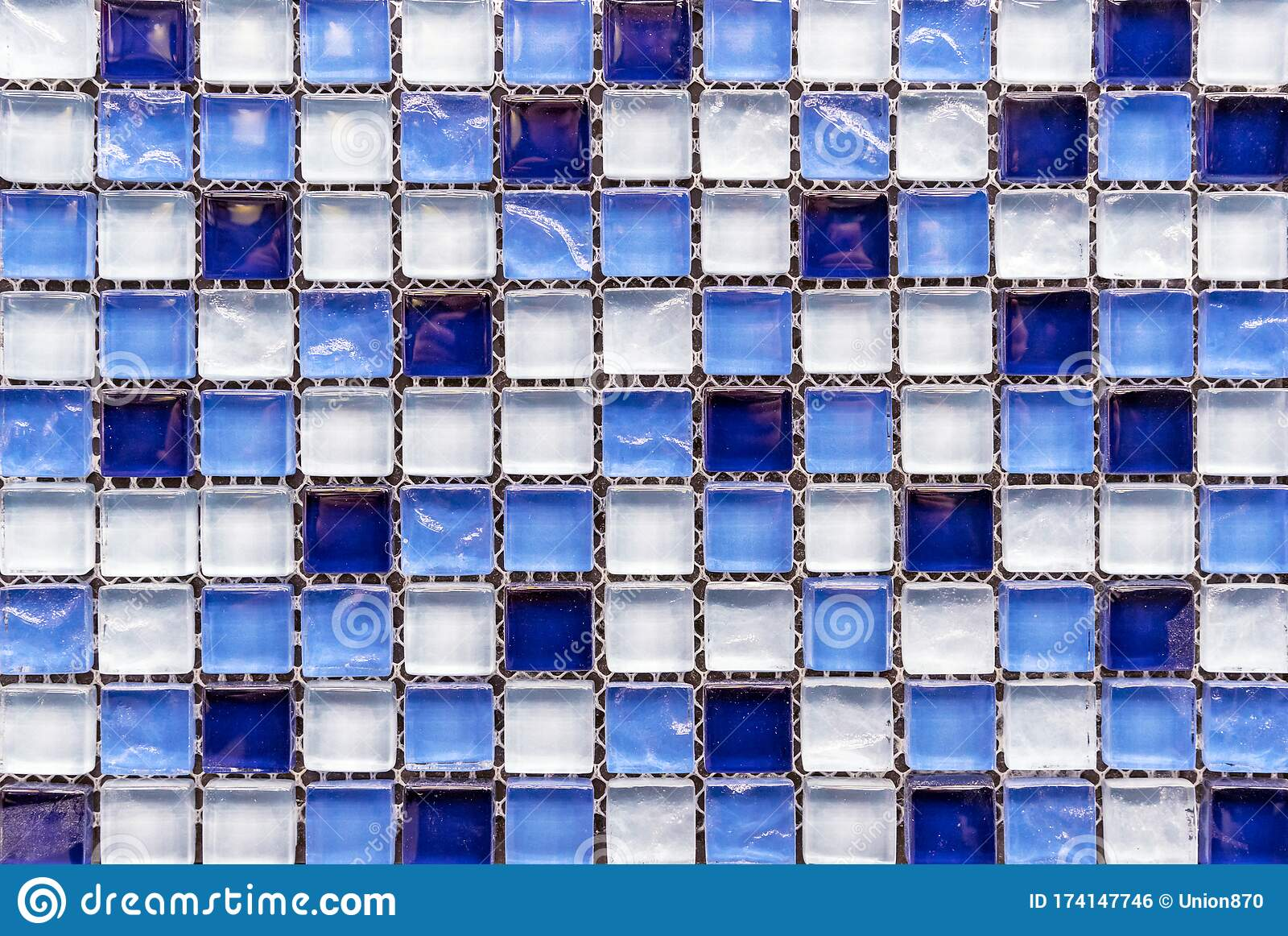Ceramic Mosaic Tiles With Blue And White Squares To Decorate The Kitchen Bathroom Or Pool Stock Photo Image Of Texture Blue 174147746