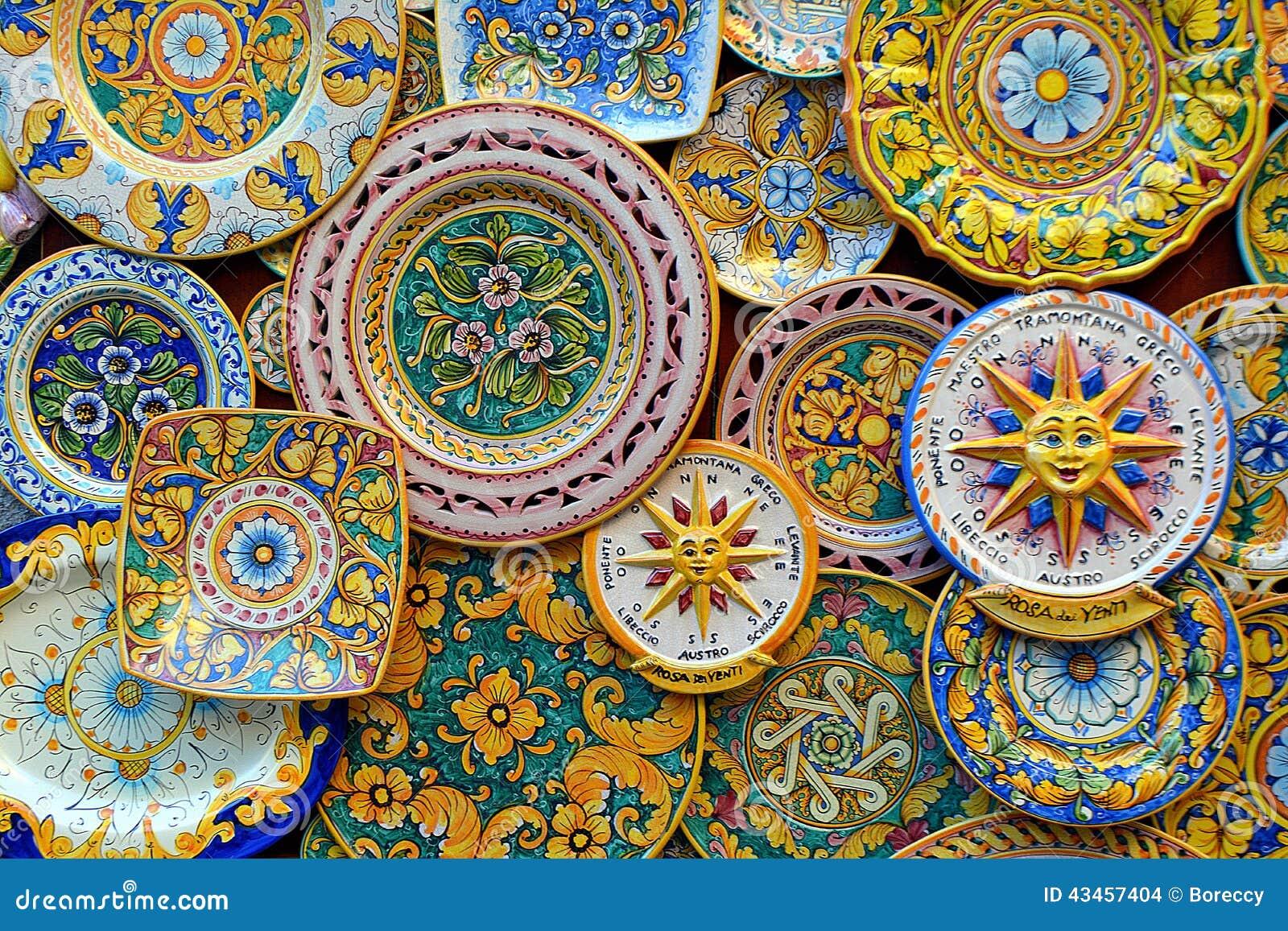 ceramic plates classic sicilian style sale erice outside souvenir shop sicily italy 43457404