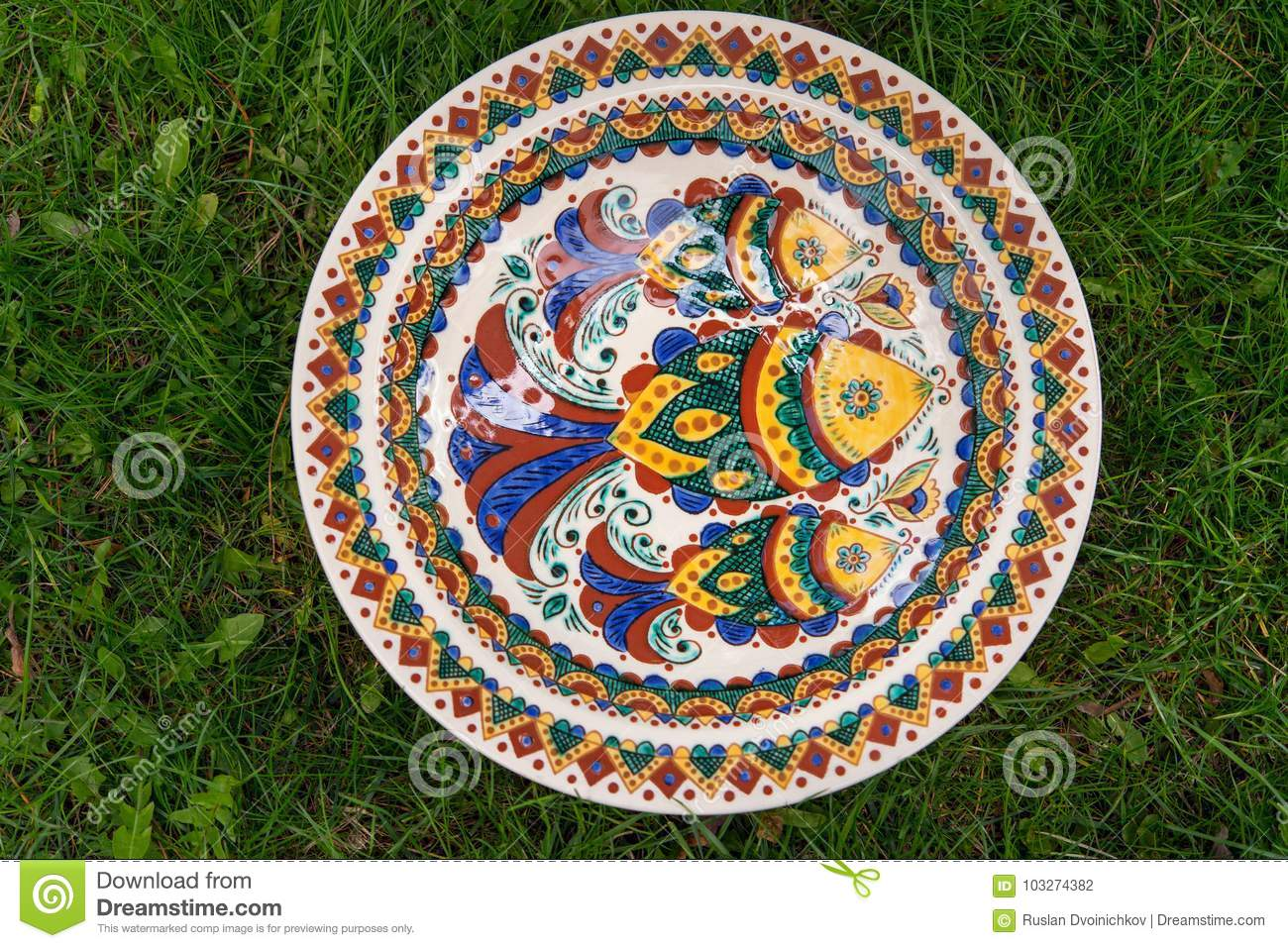 Royalty-Free Stock Photo & Ceramic Plate With Fish Pattern Stock Photo - Image of pottery ...