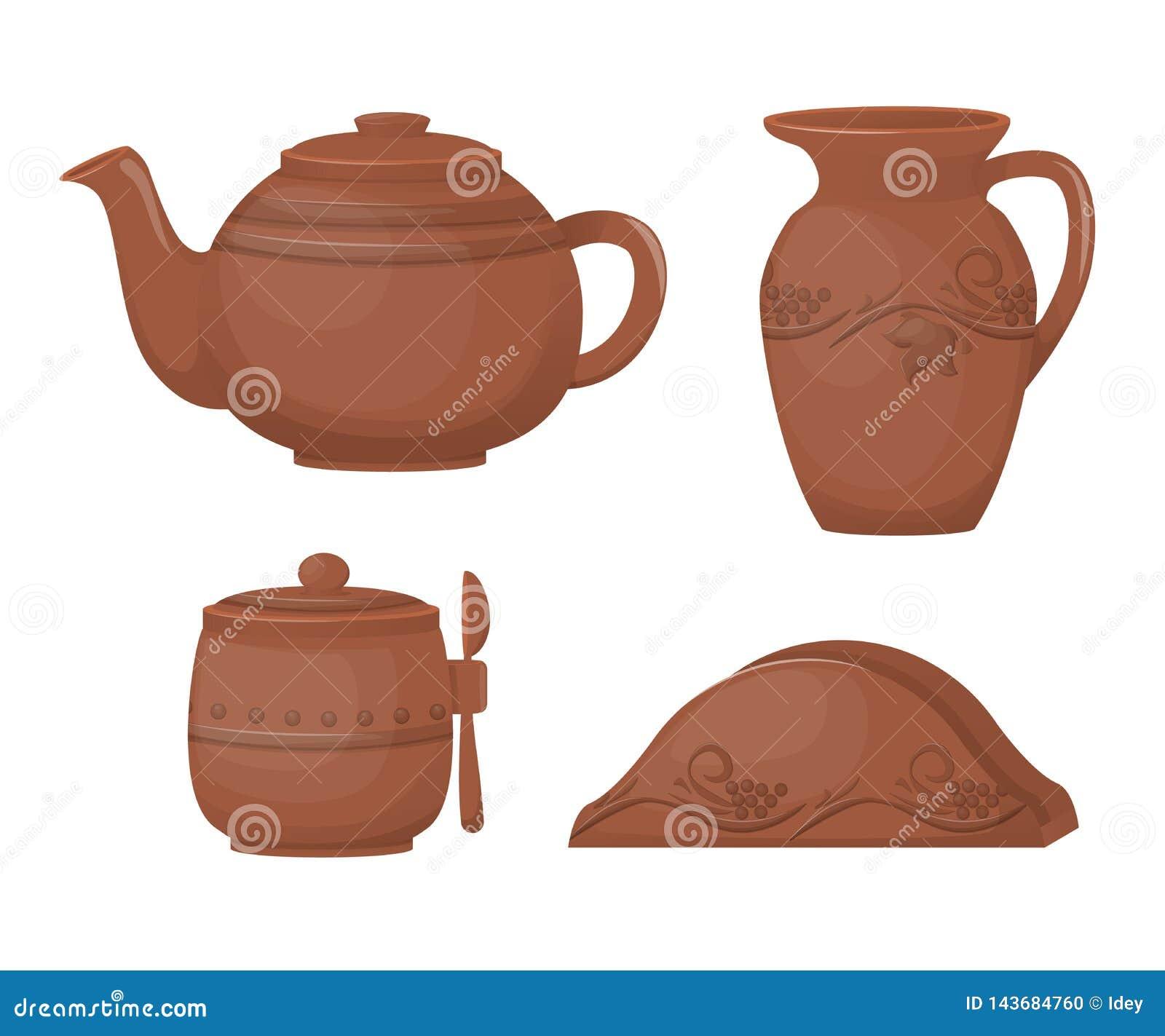 Ceramic Pottery Beautiful Kitchenware Ceramic Tea Set With Decorative Ornament Stock Vector Illustration Of Decoration Milk 143684760