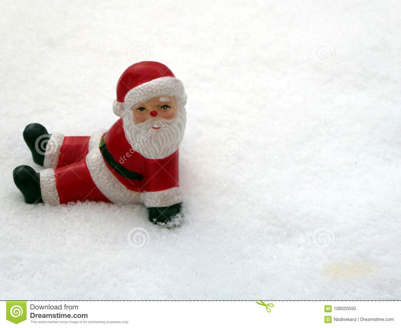 Ceramic Santa Claus On Snow Background. Lovely Merry Christmas And ...