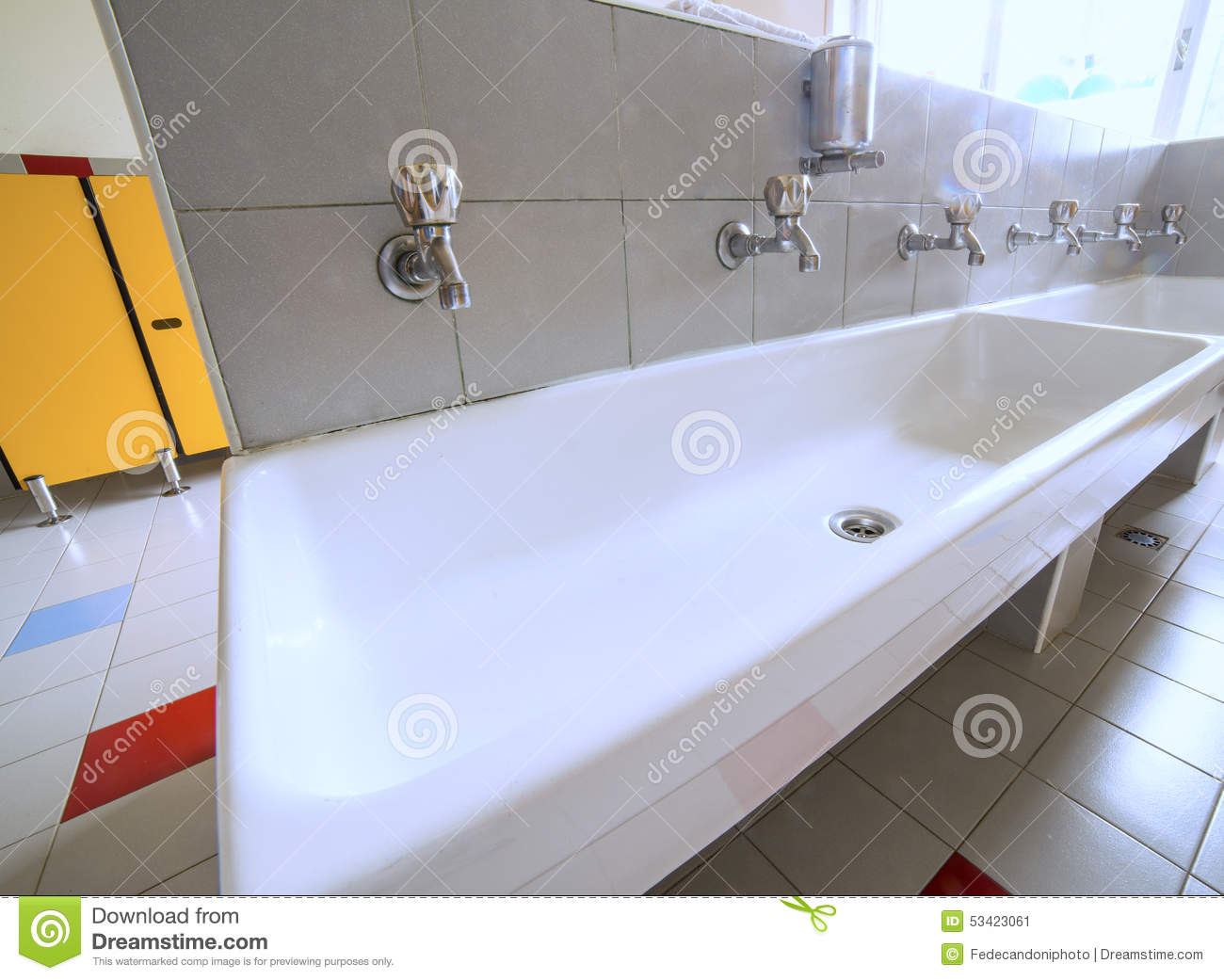 Ceramic Sink With Many Taps In The School Stock Image - Image of ...
