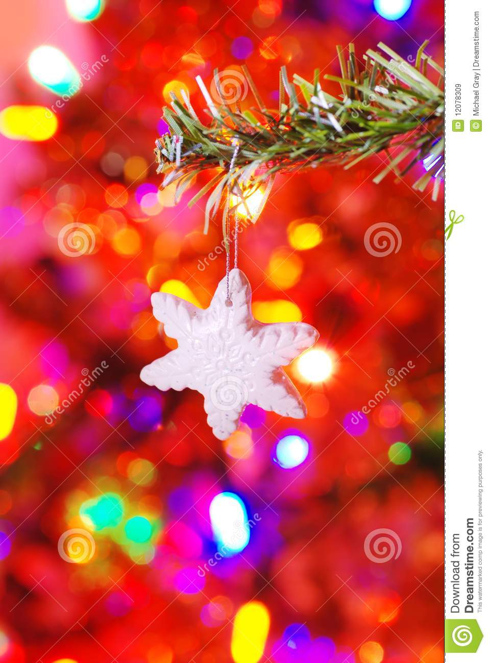 Ceramic Snowflake On A Branch Royalty Free Stock Images - Image