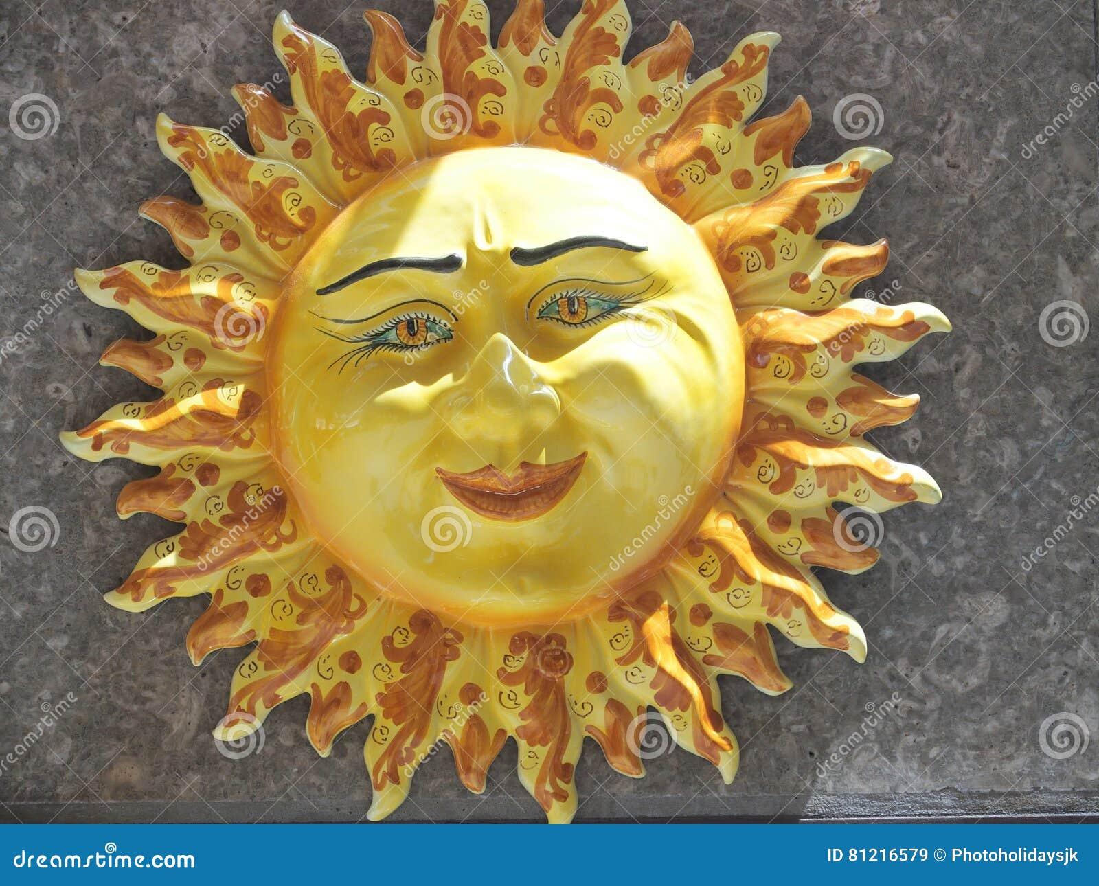 Ceramic sun stock image image of italy sicilian - Ceramique murale autocollante ...