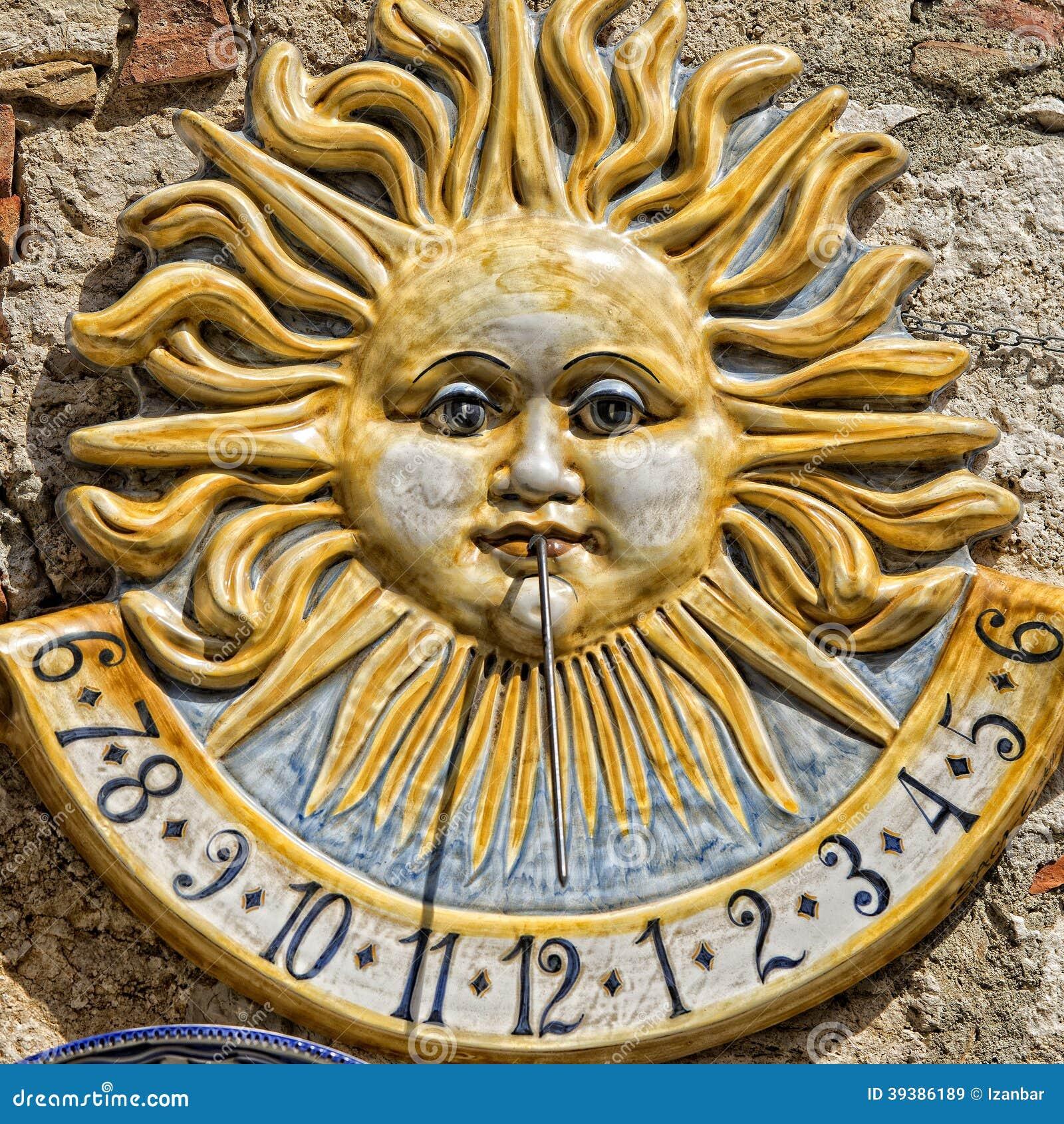 Ceramic sundial meridian stock image. Image of retro - 39386189