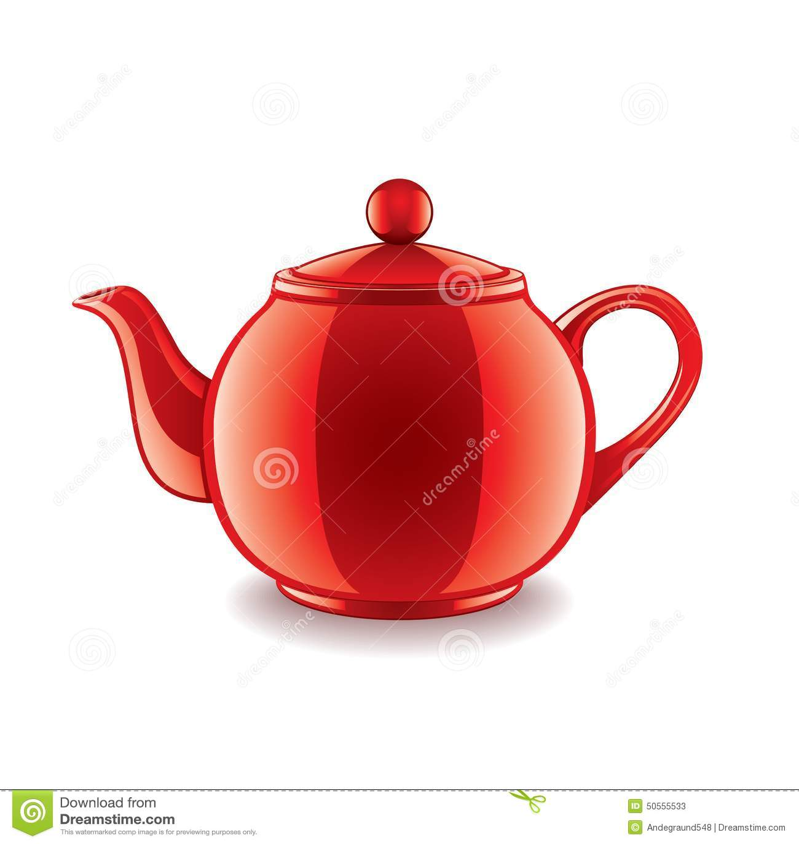 Ceramic Teapot On White Vector Stock Vector - Image: 50555533