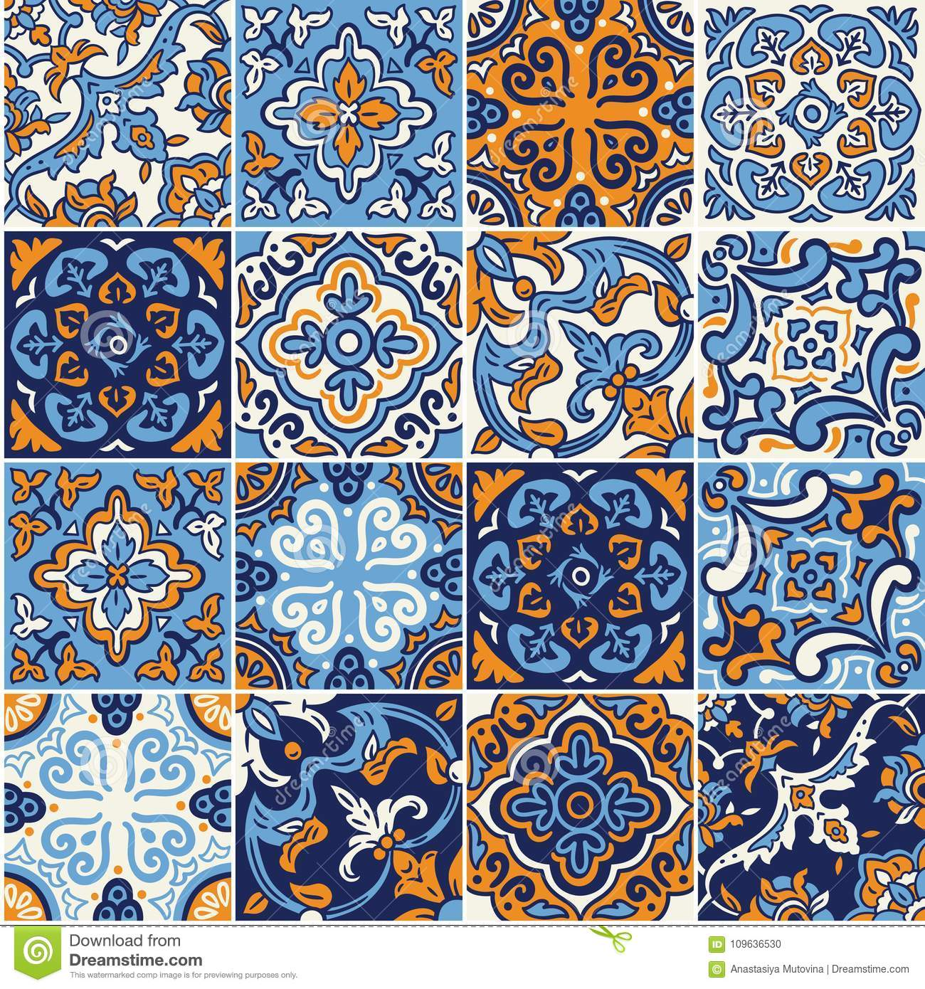Ceramic Tile With Colorful Patchwork In Spanish Style Stock Vector ...