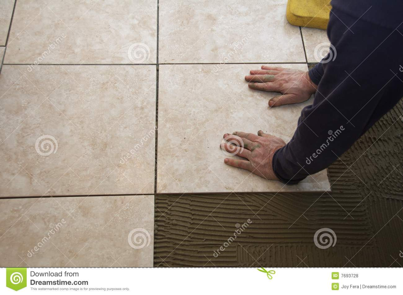 Ceramic tile installation royalty free stock photos for Ceramic floor installation