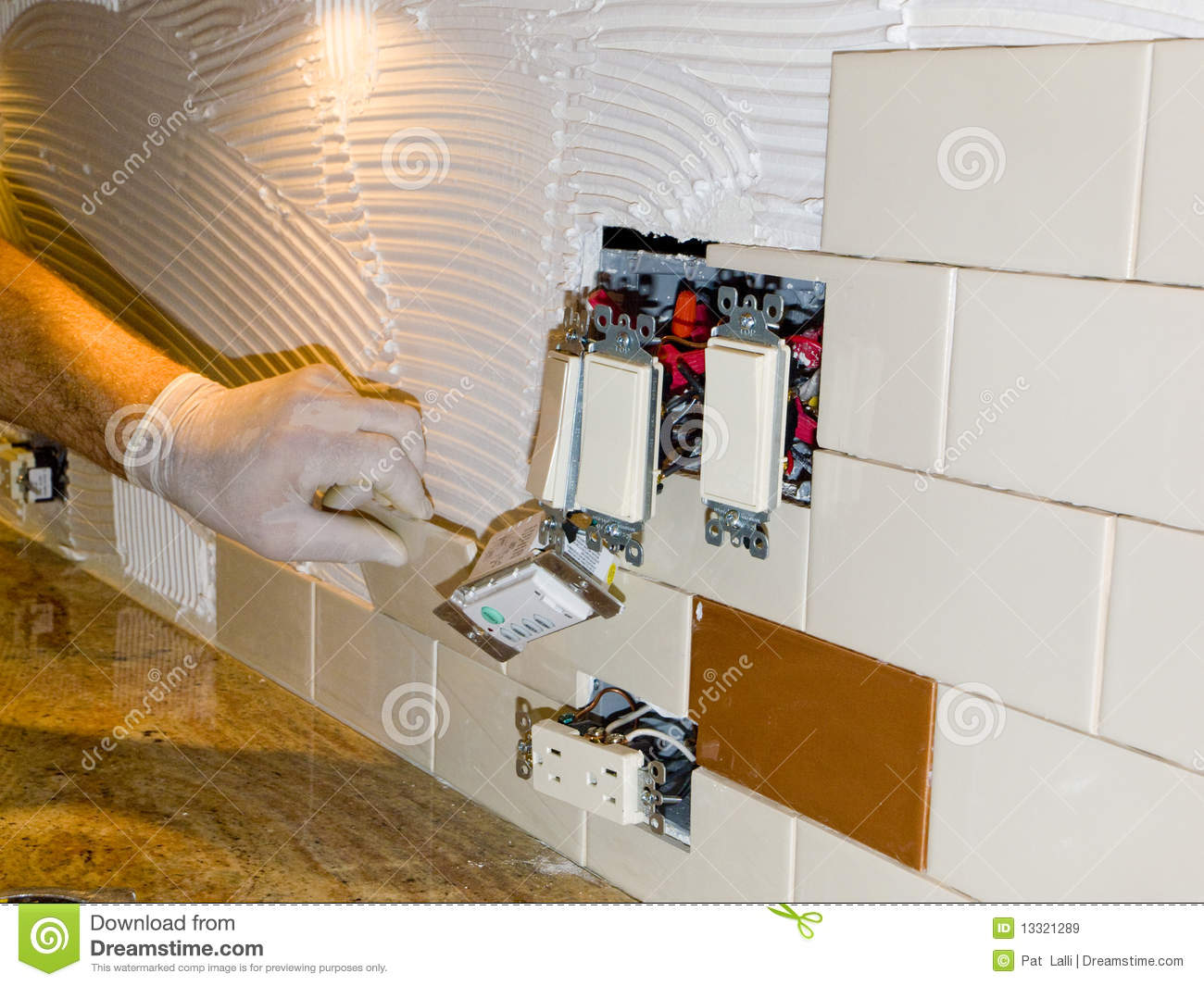 Ceramic Tile Installation On Kitchen Backsplash 10 Stock Image Image 13321289
