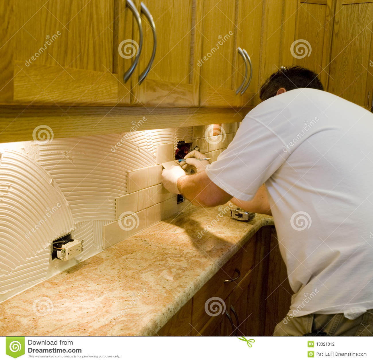Ceramic Tile Installation On Kitchen Backsplash 12 Stock Photo Image 13321312