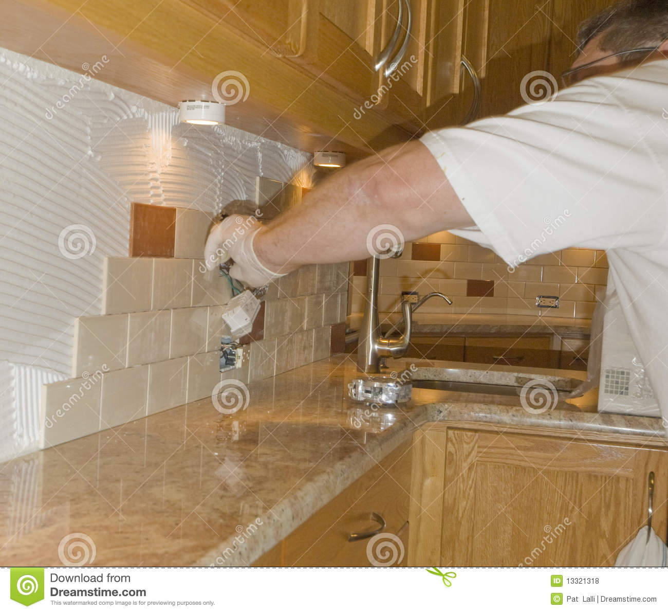 Ceramic Tile Installation On Kitchen Backsplash 12 Stock
