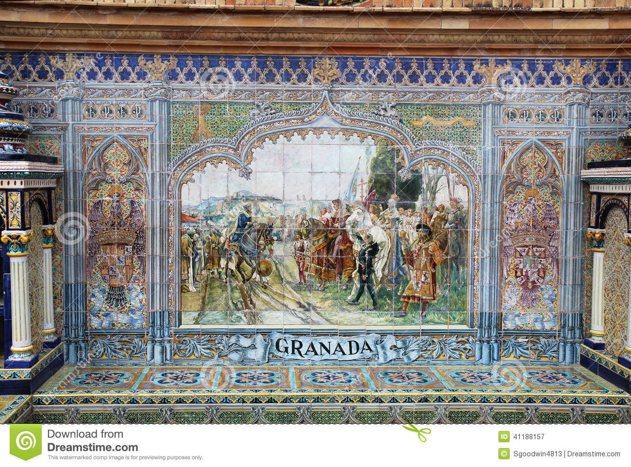 Ceramic tile mural at plaza de espana in seville editorial ceramic tile mural at plaza de espana in seville doublecrazyfo Images