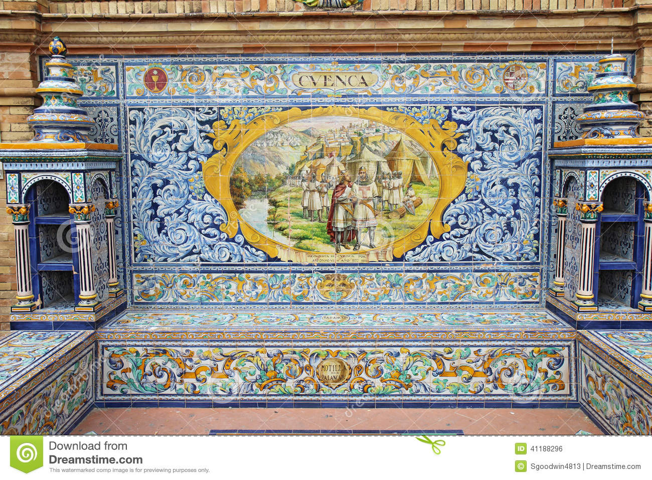 Ceramic tile mural at plaza de espana in seville spain editorial ceramic tile mural at plaza de espana in seville spain doublecrazyfo Images