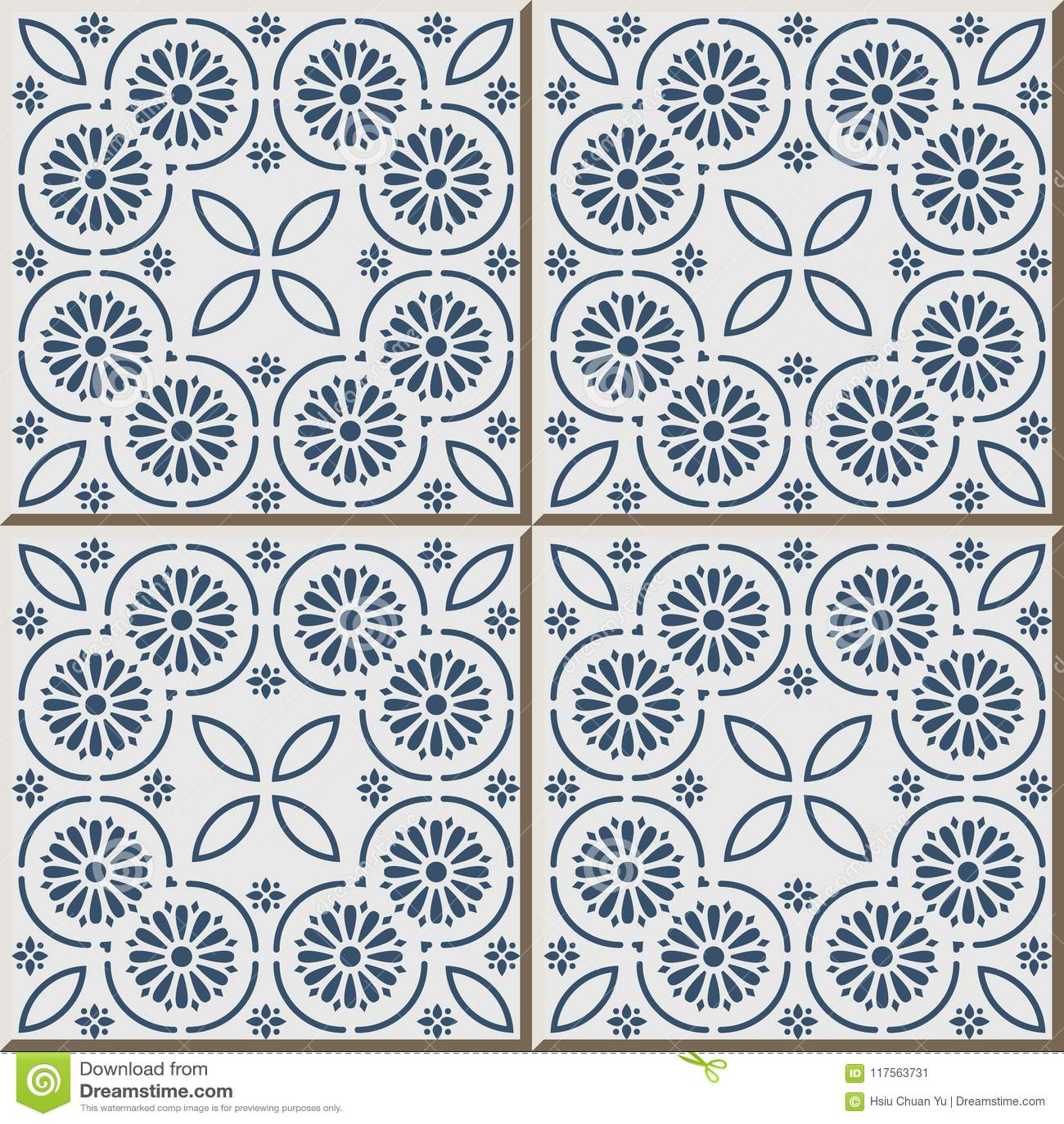Ceramic Tile Pattern Blue Round Curve Cross Frame Dot Line Flowe ...
