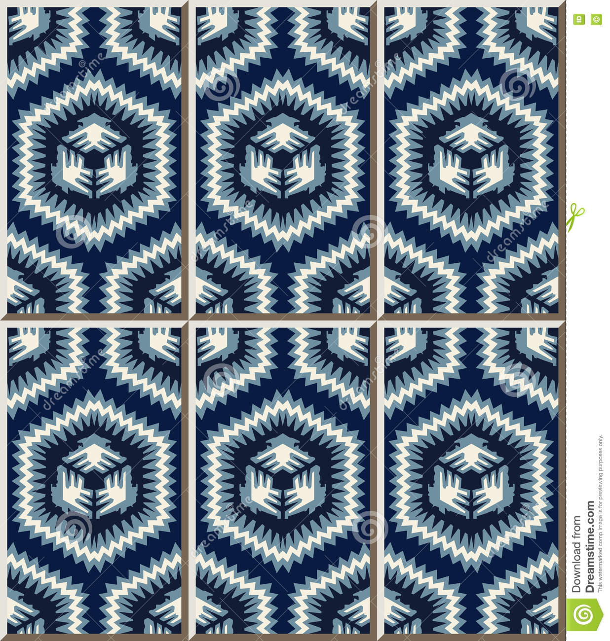 Ceramic Tile Pattern 452 Blue Sawtooth Side Polygon Geometry Stock ...