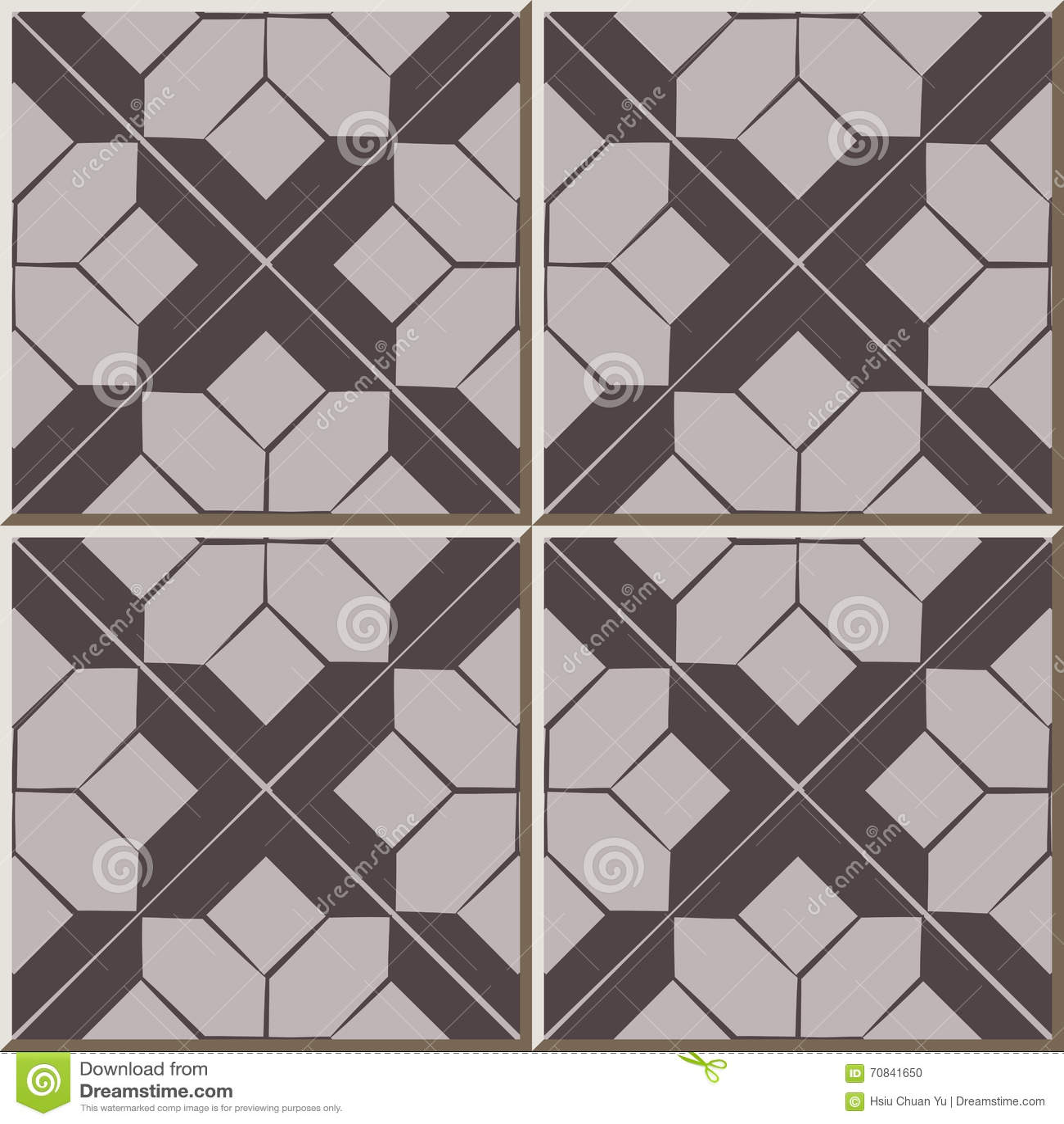 Ceramic tile pattern 308 brown check cross geometry