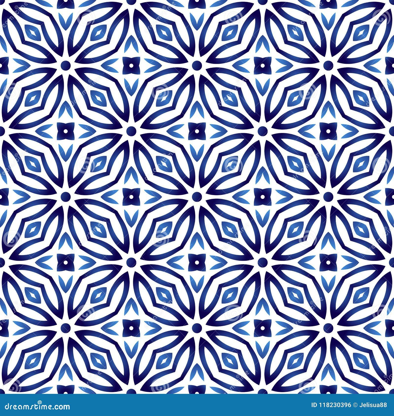 Ceramic tile pattern. Islamic, indian, arabic motifs. Damask sea