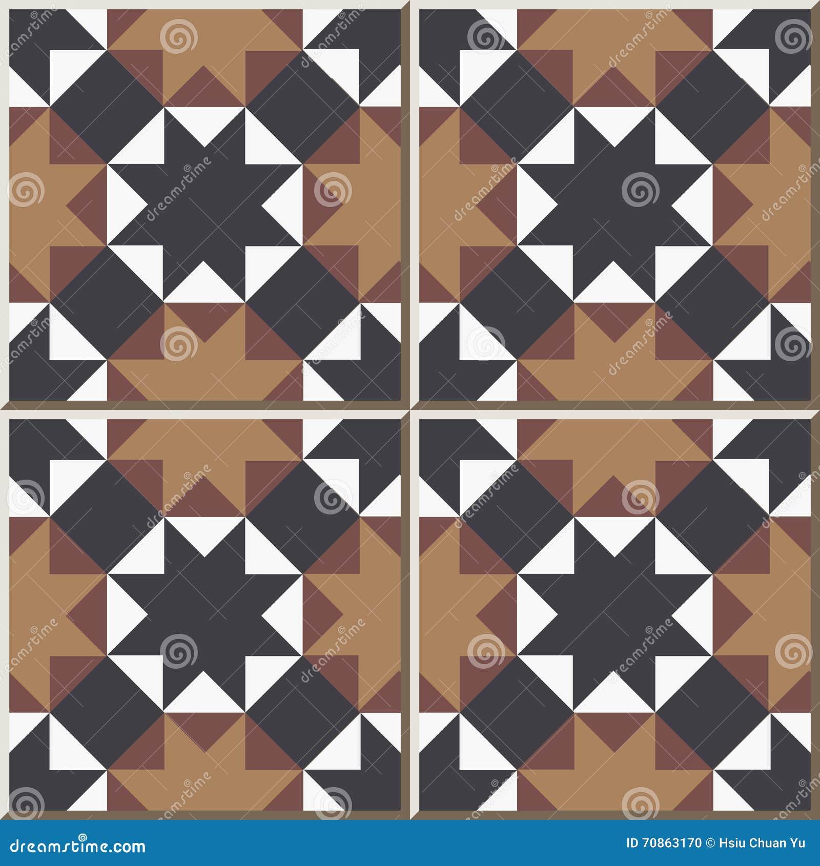 Ceramic Tile Pattern 323 Octagon Star Cross Triangle Geometry Stock