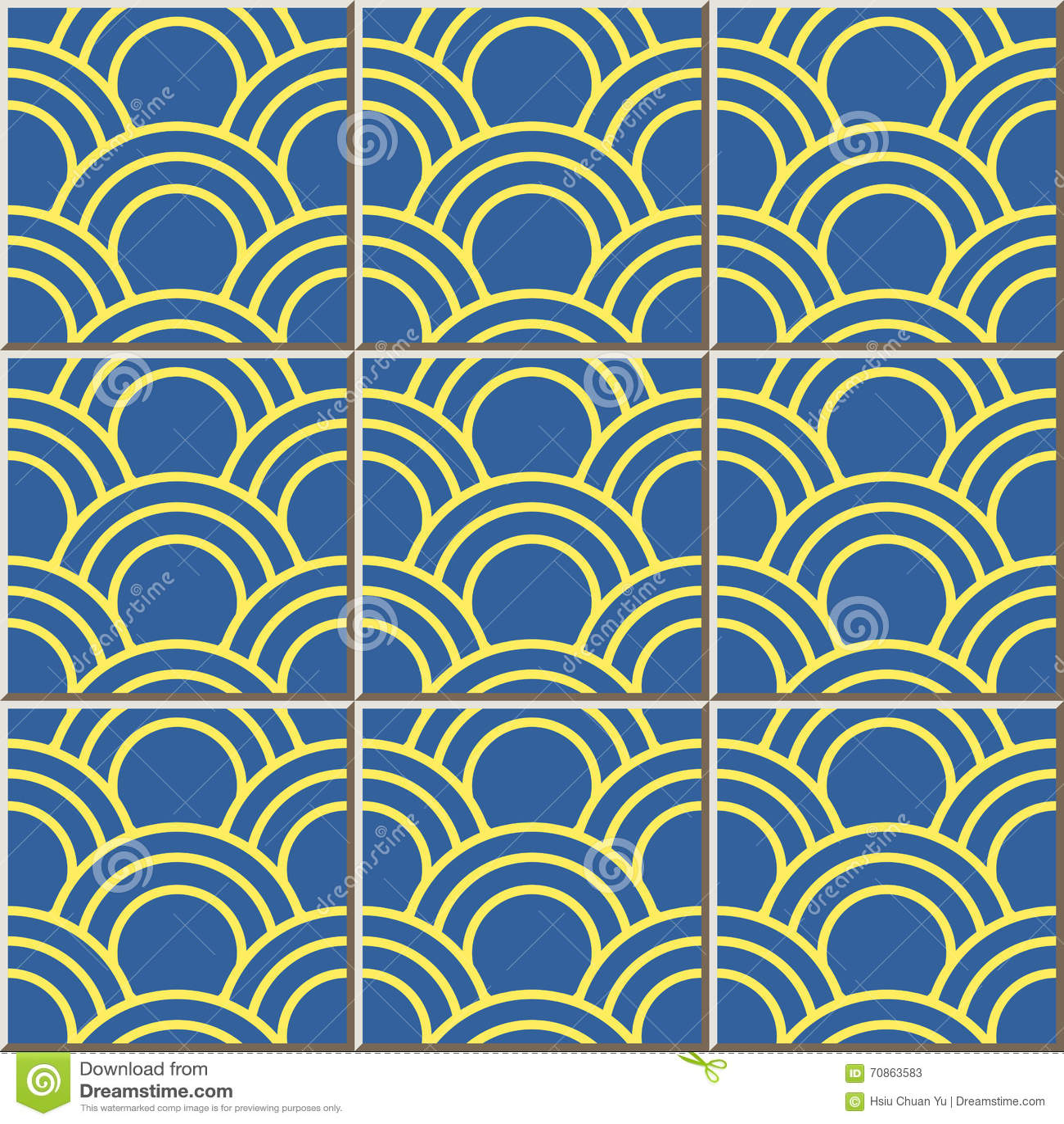 Ceramic Tile Pattern 341 Oriental Fish Scale Round Curve Line Stock ...
