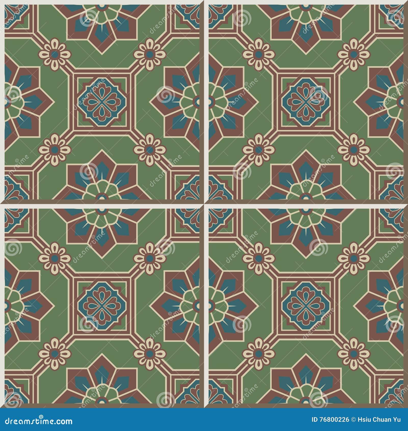 Ceramic Tile Pattern 414 Oriental Octagon Square Frame Cross Flower