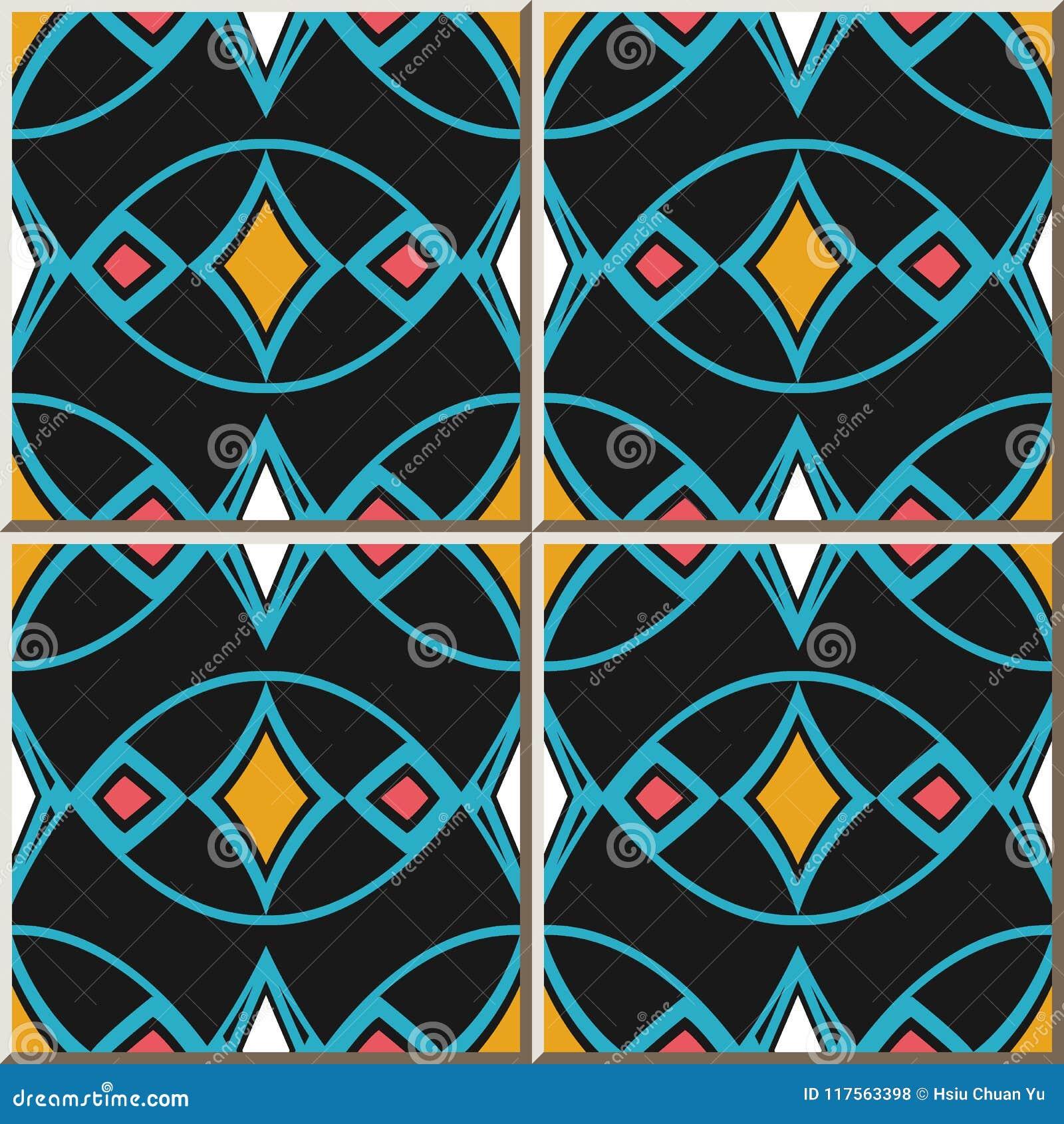 Ceramic Tile Pattern Oval Curve Cross Blue Frame Line Colorful D ...