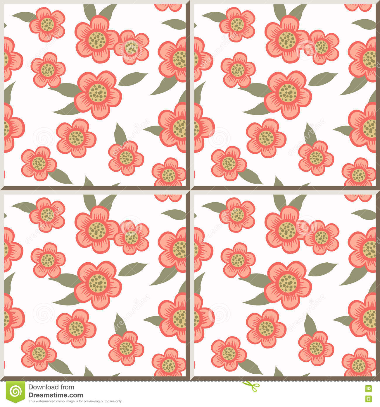 Ceramic tile pattern pink flower green leaf stock vector image ceramic tile pattern pink flower green leaf doublecrazyfo Images