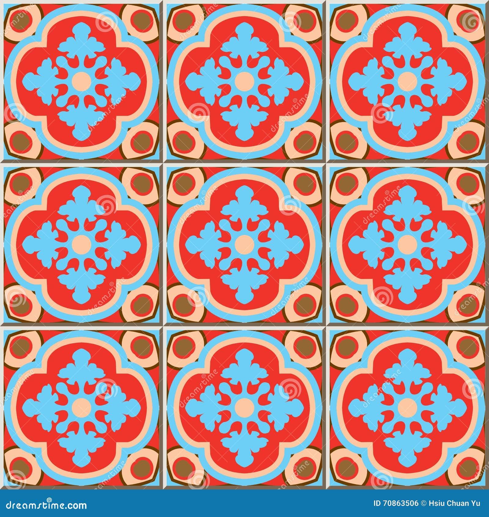 ceramic tile pattern 337 retro red blue curve cross kaleidoscope