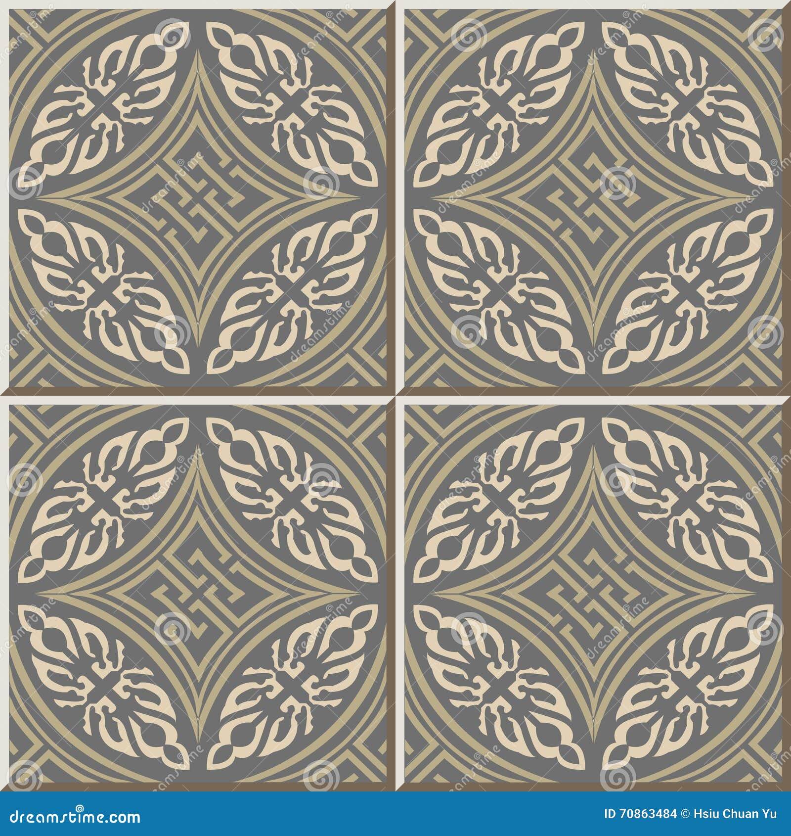 Ceramic Tile Pattern 336 Round Aboriginal Cross Geometry Stock ...