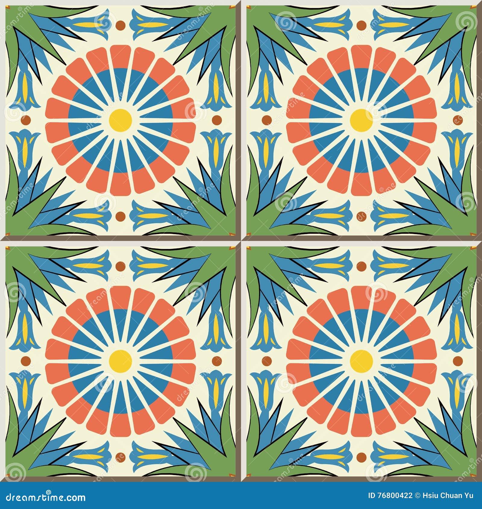 Ceramic Tile Pattern 432 Round Flower Point Leaf Cross Stock Vector ...