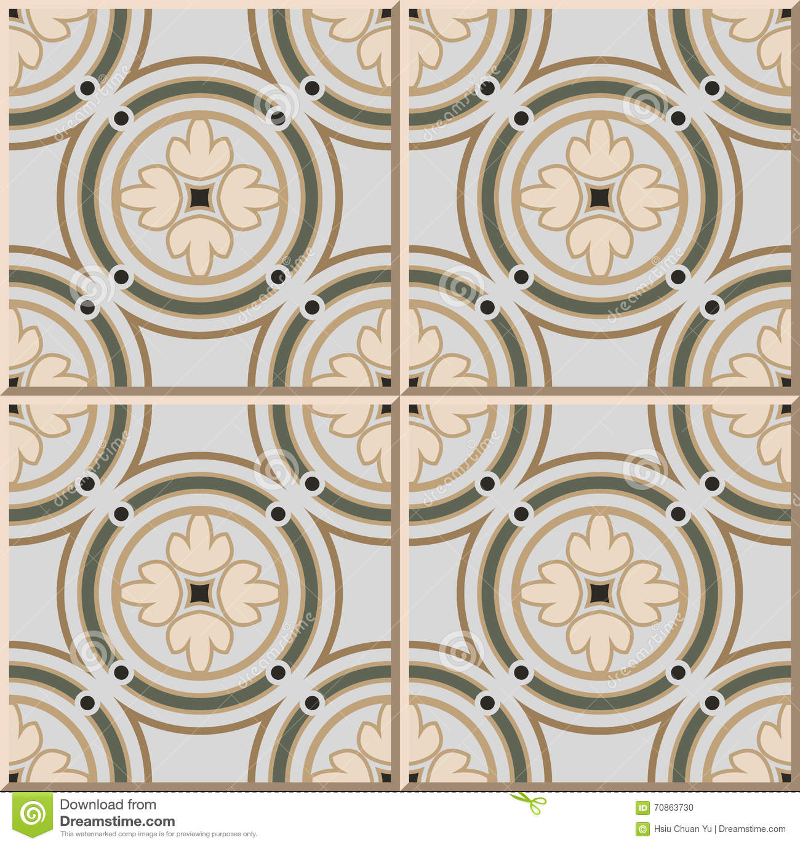 Ceramic Tile Pattern 364 Vintage Round Circle Frame Cross Flower ...