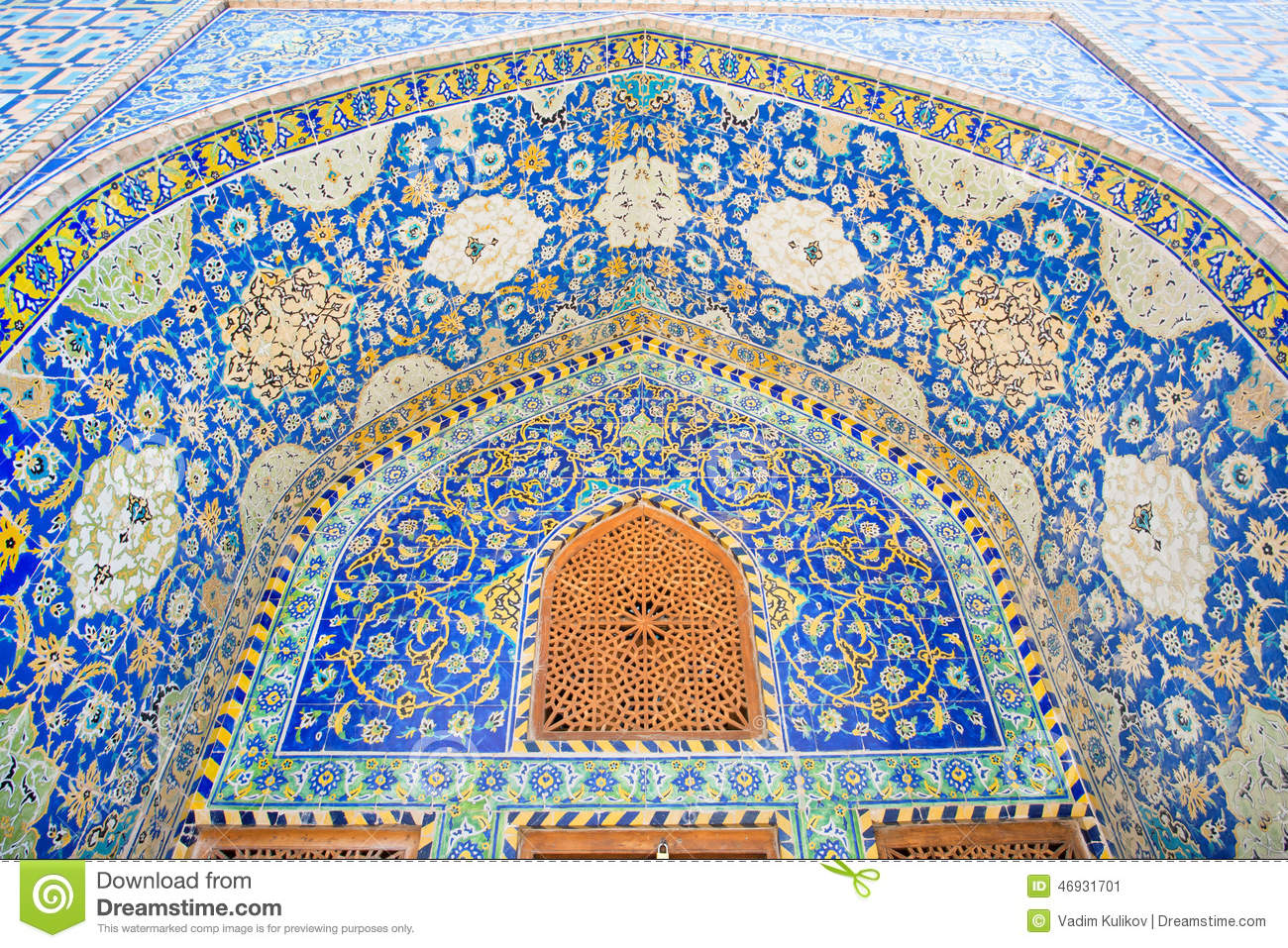 Ceramic Tile With Persian Patterns In The Niche With Wooden Window Of A Historic Building Stock ...