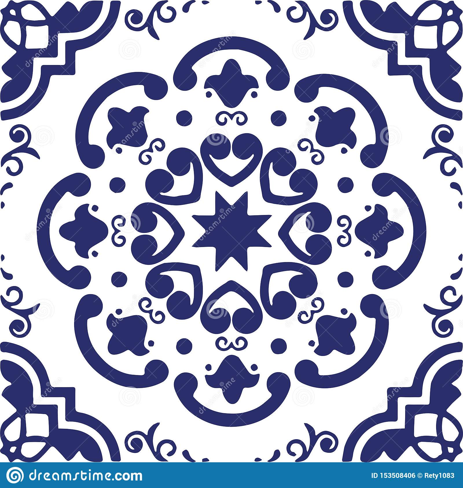 Ceramic Tile Portuguese Tiles Red And Blue Moroccan Tiles Blue And White Kitchen Tiles Bathroom Tiles Surface Pattern Vector Stock Illustration Illustration Of Printing Textile 153508406