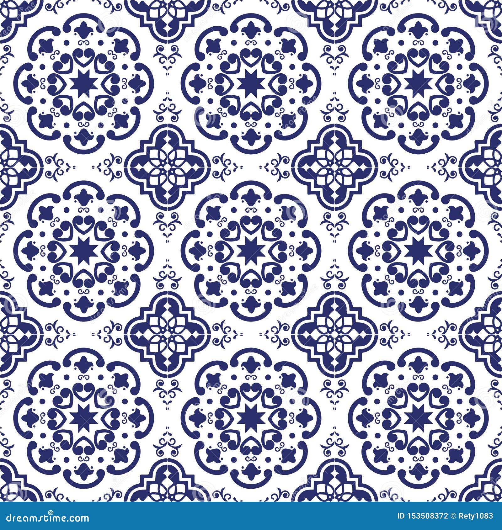 Ceramic Tile Portuguese Tiles Blue And White Moroccan Tiles Blue And White Kitchen Tiles Bathroom Tiles Surface Pattern Vector Stock Vector Illustration Of Blue Tiles 153508372