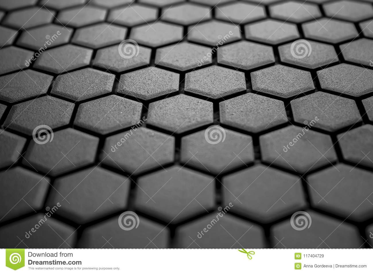 Ceramic Tiles Mosaic Made Of Gray Rhombuses Without Grouting The