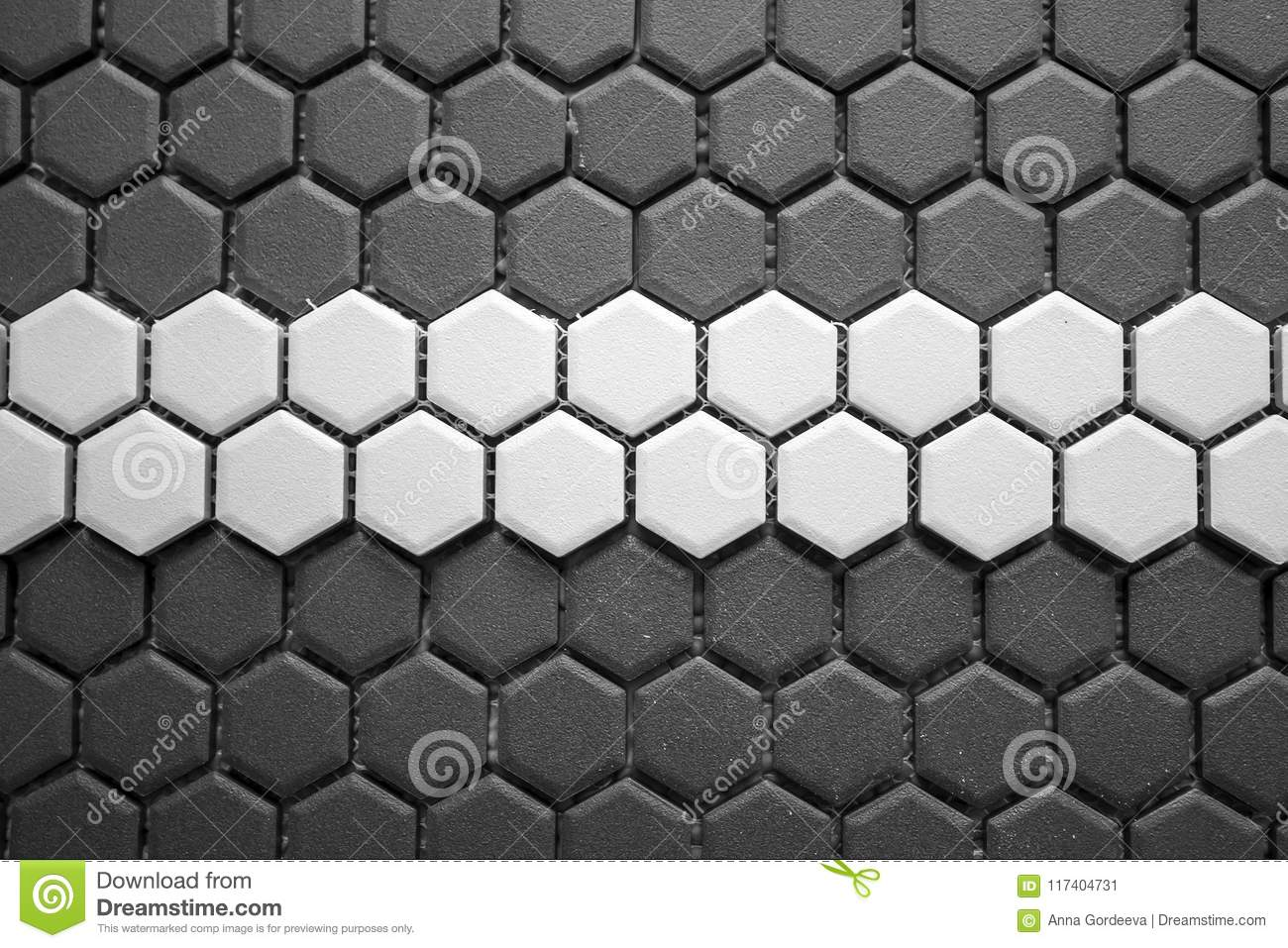 Ceramic Tiles Mosaic Made Of Gray Rhombuses With A White Stripe In