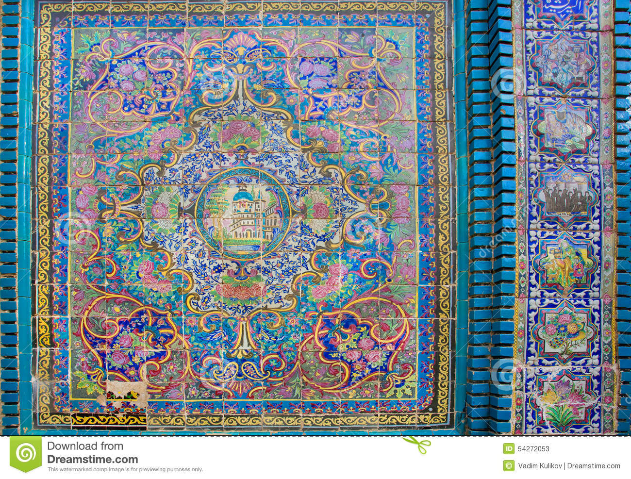 Ceramic Tiles With Traditional Persian Patterns Stock