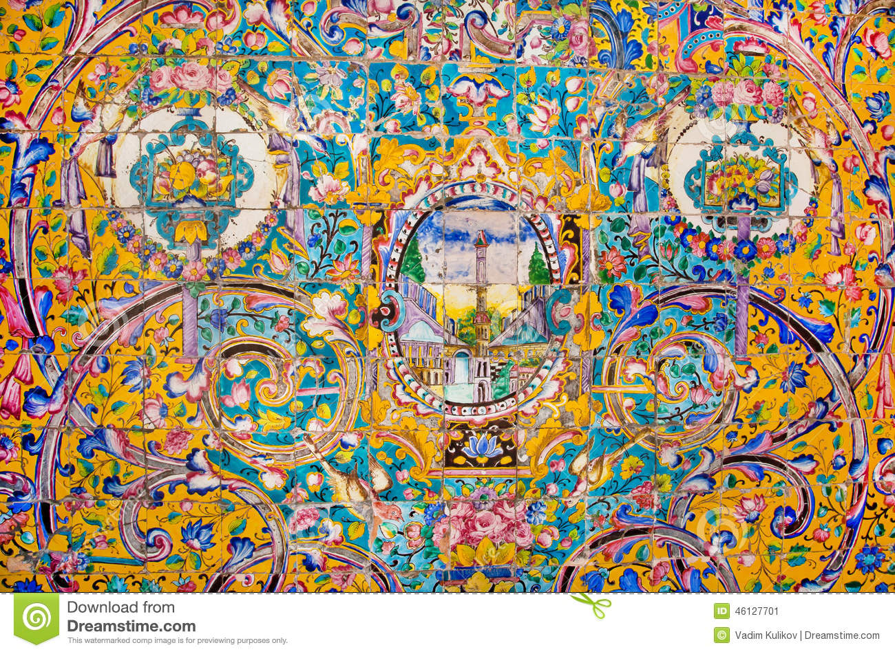 Ceramic Tiles With Traditional Persian Patterns On The