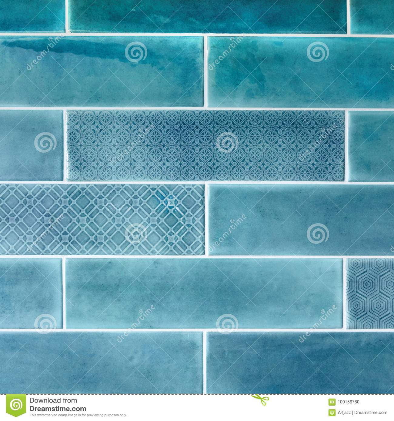Ceramic Tiles On The Wall In Blue. Stock Photo - Image of decoration ...