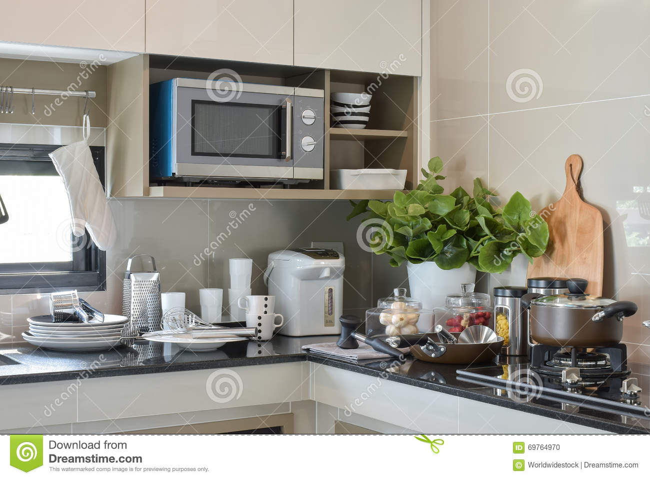 Ceramic Ware And Kitchen Ware Setting Up On The Counter