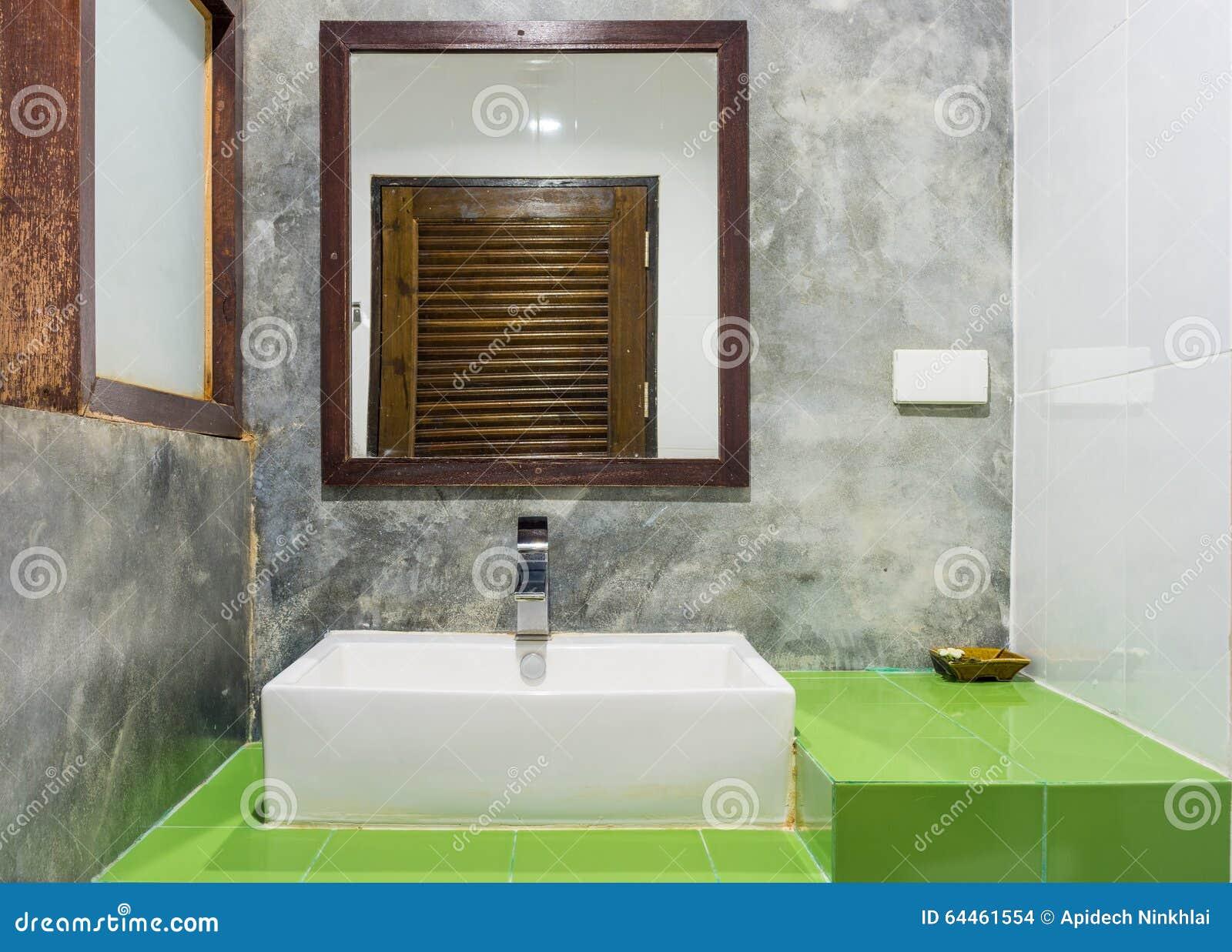 Royalty Free Stock Photo  Download Ceramic Washbasin. Ceramic Washbasin  Bowl And Mirror On Green Ceramic Tiles Counter