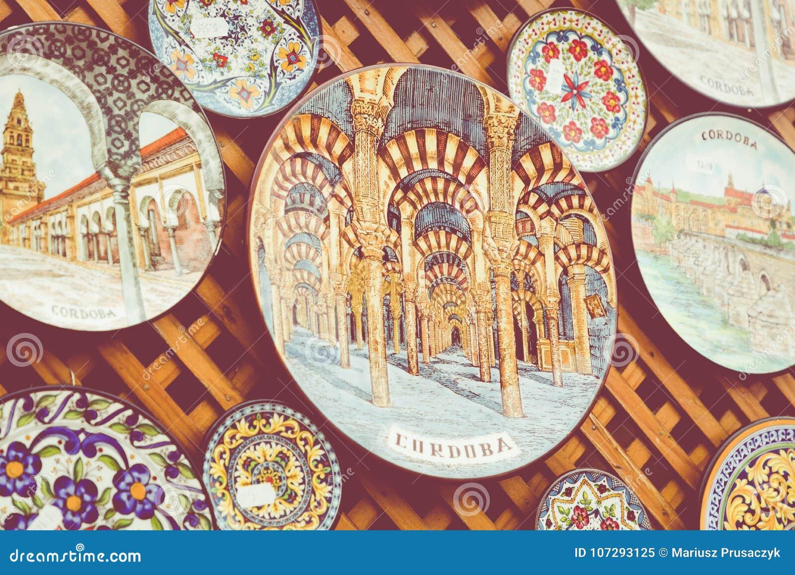 Ceramics Plates At Local Souvenir Shop In Cordoba, Andalusia