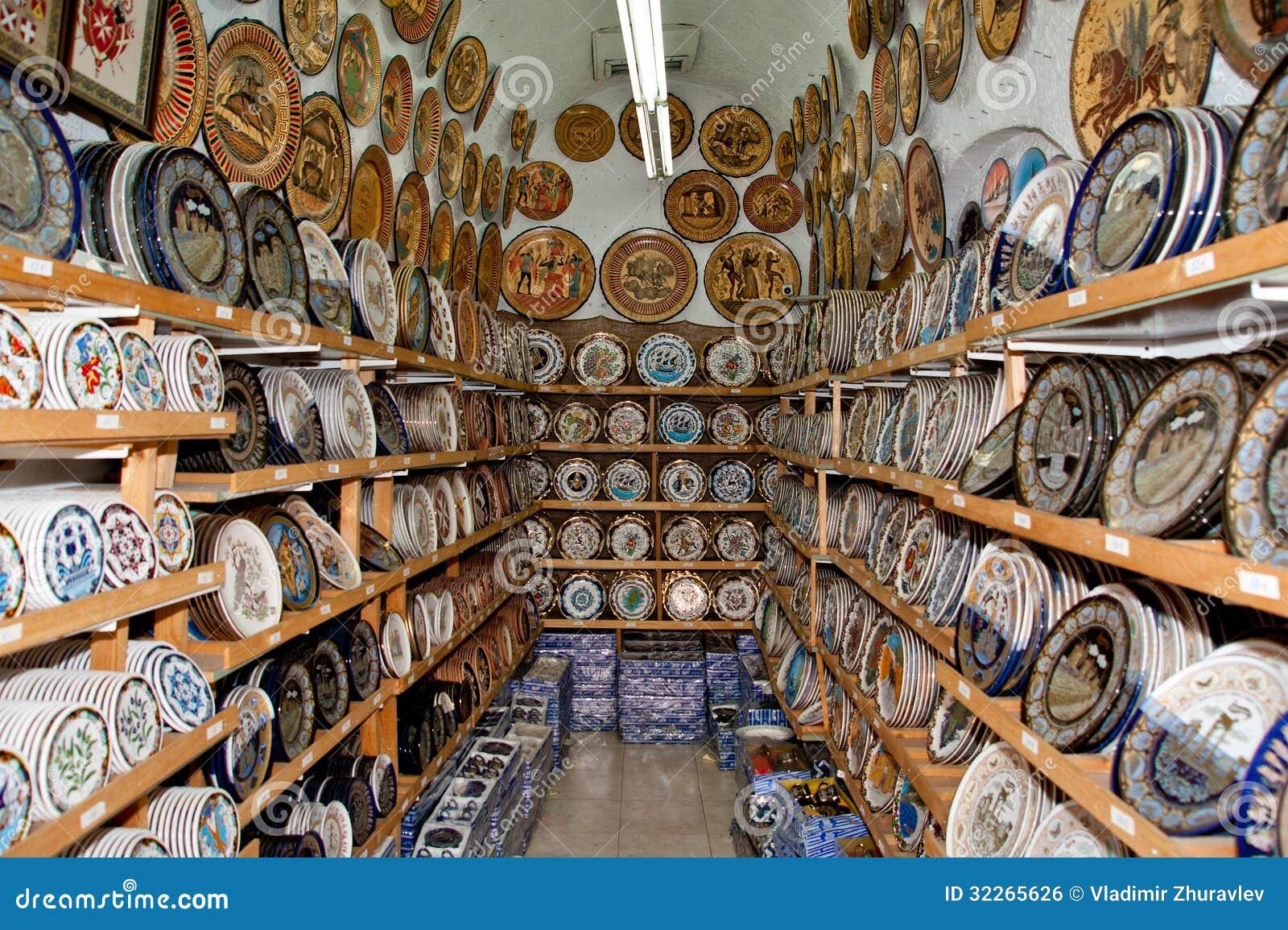 Ceramics Souvenir Shop Traditional Greek Vases Stock