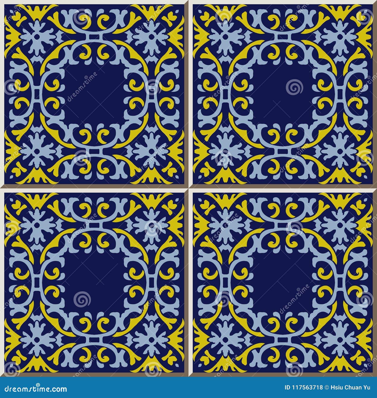 Ceramicznej płytki wzoru spirali krzywy kwadrata krzyża ramy łańcuchu flowe